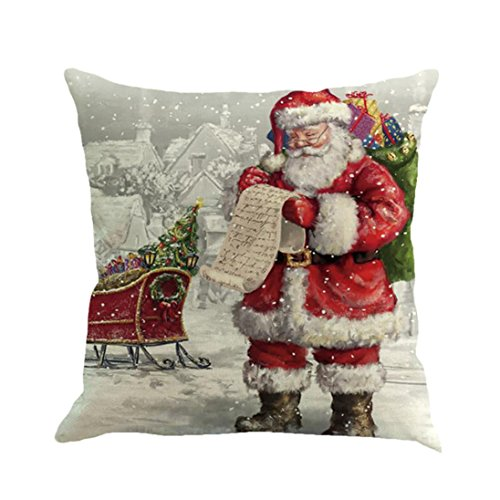 callm Pillowcase Christmas Home Decorative Throw Waist Pillow Case Cushion Covers Decoration Santa Pillow Protector Merry Christmas Pillow Slipcover Sofa Home Decor 18x18 (H)