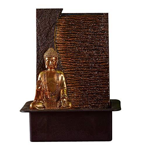 Zen Light - Fontaine d'Intérieur Bouddha Jati - Idée Cadeau Originale - Objet Feng Shui et Bien-être - Eclairage Fontaine LED Blanc Chaud - Mur d'eau - L 22 x l 30 x H 40 cm Marron Taille Unique