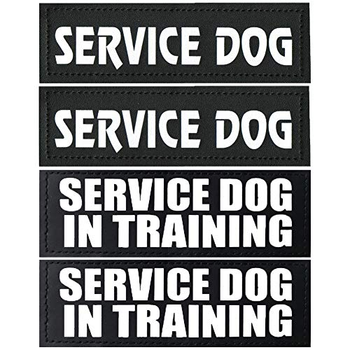 4pcs Service Dog Patch 6' x 2' - Service Dog In Training/Service Dog Patches,Clear Pattern & Velcro Dog Patches for Vest,Velcro Patches for Dog Harness,Dog Vest Patches