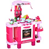 HOMCOM 38 Pcs Kids Children Kitchen Play Set w/ Realistic Sounds Lights Food Utensils Pots Pans Appliances Toy Game Pink
