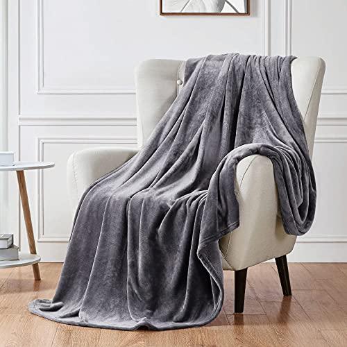 Walensee Fleece-Decke Plüsch-Überwurf, flauschig, leicht, superweich, Mikrofaser-Flanell-Decken für Couch, Bett, Sofa, ultra-luxuriös, warm und gemütlich alle Jahreszeiten King (108'x90') dunkelgrau
