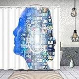 Duschvorhang,ai Konzept,Enthält 12 Duschvorhanghaken waschbar,Wasserdicht Bad Vorhang für Badezimmer Badewanne 180X180cm