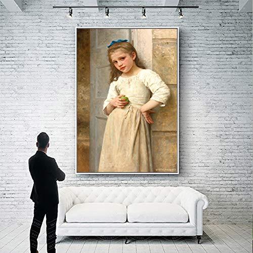 Geiqianjiumai Leinwandbild Mädchen wandbild Poster und wandbild Kunst Wohnzimmer wanddekoration Kunst rahmenlose malerei 30x37 cm
