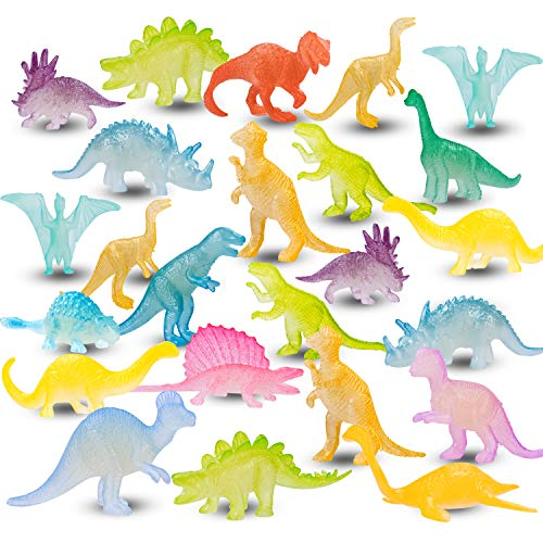 48PCS Kids Valentines Day Gift Mini Luminous Dinosaurs, Toddler Valentines Gifts, Classroom Exchange Party Favors Toys, Cute Bulk Goodie Fillers for School Class Preschool Activities Boys Girls Age 3+ Years Old