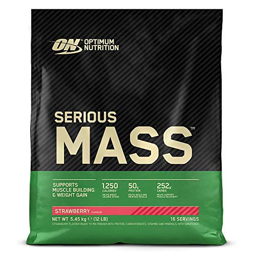 Optimum Nutrition ON Serious Mass Hochkalorisches Weight Gainer Protein Pulver, Whey Protein, Vitamine, Kreatin und Glutamin, Strawberry, 16 Portionen, 5,45kg, Verpackung kann Variieren