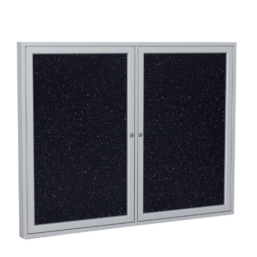 """Ghent 3"""" x 4"""" 2-Door indoor Enclosed Recycled Rubber Bulletin Board, Shatter Resistant, with Lock, Satin Aluminum Frame, Confetti (PA234TR-CF) ,Made in the USA"""