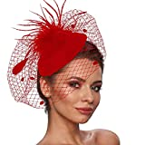 Zivyes Fascinator Hats for Women Pillbox Hat with Veil Headband and a Forked Clip Tea Party Headwear (1-Red)