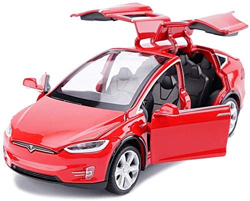 Auch gut in der Leistung Autoks Modellauto Modell Druckguss Modell 1:32 Tesla Modell X Spielzeugauto Modell Sound and Light (Farbe: Rot) Festival