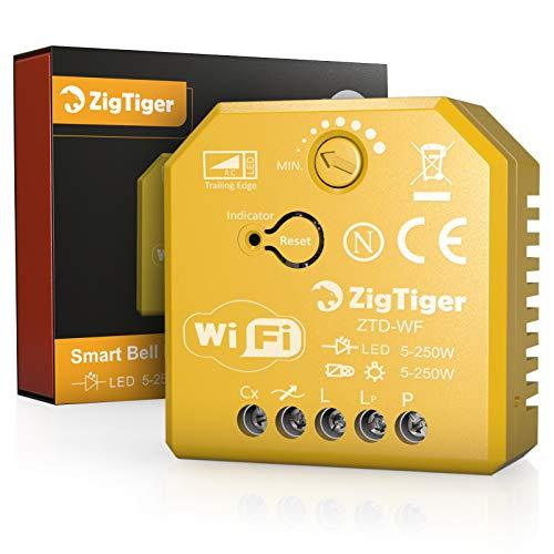 Zigtiger - Regulador de intensidad empotrable, 250 W, máx. 400 W, halógeno con regulador de fases, apto para dos tensiones, transformadores y lámparas