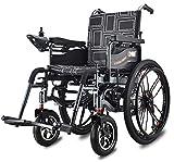 FHISD - Silla de Ruedas eléctrica Plegable de Lujo para Ancianos discapacitados, motorizada, Ligera, Plegable, Silla eléctrica, Scooter de Transporte Plegable, Ancho