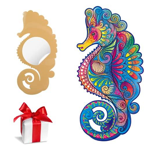 SAKHRI PARIS® - Rompecabezas de madera de animales coloridos - Jad el camaleón de Marseille - Juego de lluvia de ideas | Puzzle para adultos y niños - 150 piezas - Adhesivo de pared GRATIS