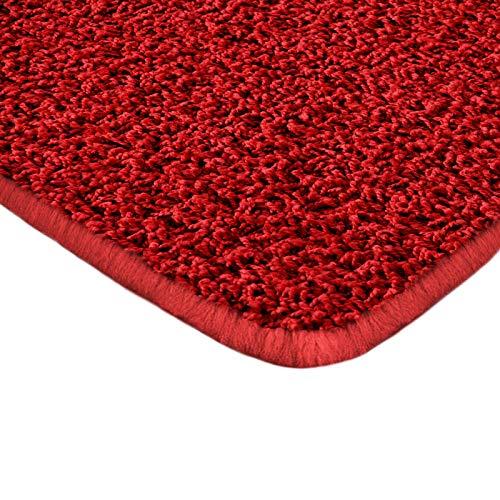 Floori Shaggy Hochflor Teppich - 100x150cm - moderner Wohnzimmerteppich - rot
