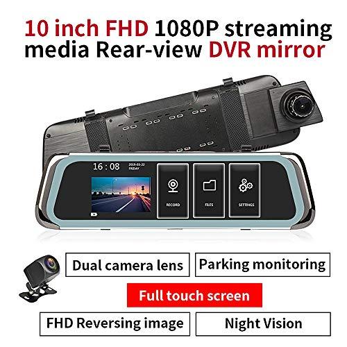 MXRLZX Autokamera, 10-Zoll FHD-Schlag-Nocken mit Doppelobjektiv for Autos, Nachtsichtgeräte, Parkplatz Überwachung, Loop-Aufnahme Dashcam