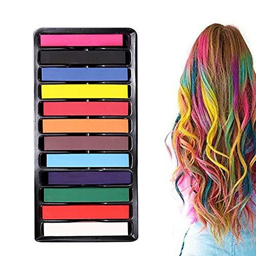 Haarkreide12 Farben Temporäre Haarkreide Set Auswaschbare und ungiftige Haarstifte Haarfarbe für Kinder und Teenager Geeignet für Karneval, Party, Weihnachten Geburtstag