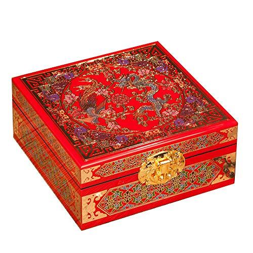 ALIANG Caja de Almacenamiento China de Madera Pingyao Push Light Lacado Carcasa de Cobre con Cerradura Caja de Almacenamiento de Pendientes Retro Caja de joyería de Mano