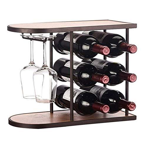 RONGJJ Estante de vino, estante de pie libre del tenedor del vino de la encimera que cuelga apilable del estante del vino del estante independiente del almacenamiento del estante del almacenamiento