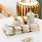 EURYTKS Porcelain Tea Sets English afternoon tea set European small coffee set ceramic coffee cup set light household (Color : 14 Pieces set)