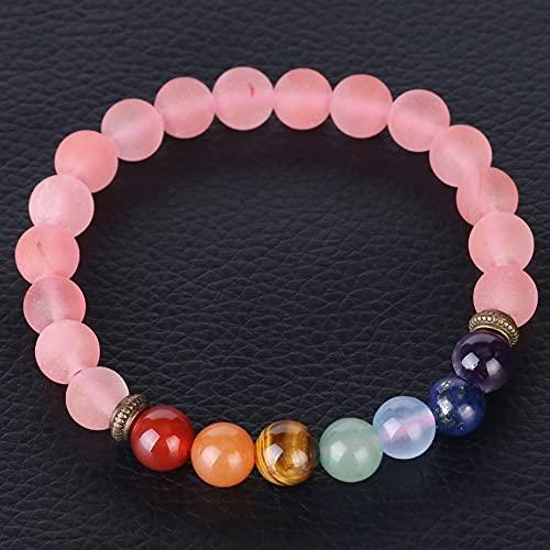 Pulsera De Piedra,7 Cuentas De Chakra Natural Frosted Pink Crystal Gem Anxiety Pulsera Lucky Friendship Stretch Bangle Meditación Joyería Regalo para Hombres Mujeres