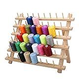 60 Filo per rocchetti per Cucire con Mini Coni, Organizer per Fili per Ricamo in Legno per Quilting da Cucito, 40 x 32 cm