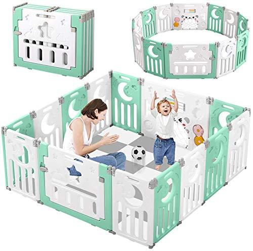 Dripex Parque para Bebés, Corralito Bebe, Centro de Actividades para Niños, Patio de Juegos de Seguridad Hogar Interior Exterior de 0 a 6 Años, Plegable 12 + 2 paneles, Verde-blanco