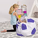 Posh Stuffable Kids Stuffed Animal Storage Bean Bag Chair Cover - Childrens Toy Organizer, X-Large-48in, Sports Soccer Ball Purple and White