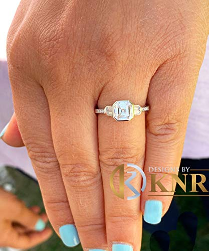 14K Solid White Gold Asscher Cut Natural Diamond Engagement Ring Bezel Set 1.40ct I-VS2 EGL US