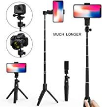 Selfie Stick Tripod Waterproof for Portable Bluetooth Wireless Remote with 360° Rotation Adjustable Extension for iPhone Xs X 6 7 8/Android Black by Hangfa (Black Long Selfie Stick)