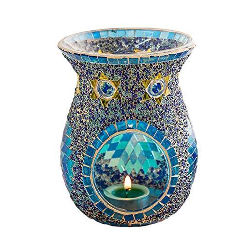 Aromalampe Teelichthalter Duftlampe aus Keramik Aroma Diffuser, Keramik Blumen Aroma Lampe Öl Diffusor Keramik Räuchergefäß Öl Kerze Ofen Teelicht Halter Kerzenhalter, Oilburner Herz Duftlampe