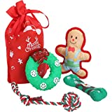 BINGPET Christmas Dog Squeaky Toys - 4 Pack Cute Puppy Chew Toys, Xmas Interactive Pet Doggy Toy with Squeaker Inside, Safe and Non-Toxic, Fit for Puppies, Small Breeds Dogs and Cats