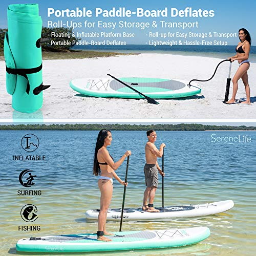 Product Image 4: SereneLife Inflatable Stand Up Paddle Board (6 Inches Thick) with Premium SUP Accessories & Carry Bag   Wide Stance, Bottom Fin for Paddling, Surf Control, Non-Slip Deck   Youth & Adult Standing Boat