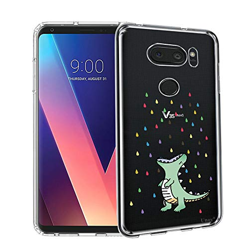 Unov Case Compatible with LG V35 ThinQ Case Clear with Design Soft TPU Shock Absorption Slim Embossed Pattern Protective Back Case for LG V30S ThinQ V30 Plus V30 (Rainbow Dinosaur)
