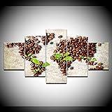 ERSHA Dipinto su Tela Il Chicco di caffè Foglie Verdi 5 Pezzi Wall Art Painting Sfondi Modulari Poster Print for Living Room Decor(Senza Telaio)