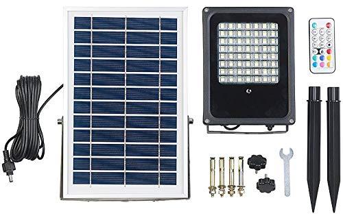 Luminea Solarleuchte mit Timer: Solar-LED-Fluter für außen, RGBW, 30 Watt, mit Fernbedienung & Timer (Solarleuchte mit Zeitschaltuhr)