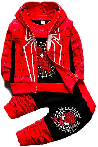 Superhero Costume for Boys | Kids Clothing Set | 3 Piece Tracksuit Hoodie Pants & T-Shirt Red/Black (3T)