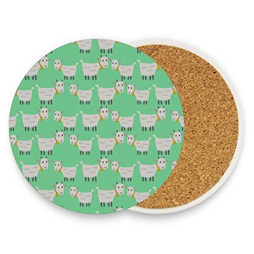 Posavasos populares de dibujos animados de cabra para bebidas Posavasos para bebidas Divertidos con piedra de cerámica y base de corcho para tipos de tazas y tazas