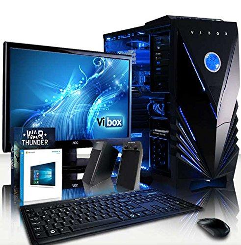 VIBOX Bravo 42 - Ordenador para Gaming (21.5', AMD FX-6350, 16 GB de RAM, 3 TB de Disco Duro, AMD Radeon R7 240, Windows 10) Color neón Azul - Teclado AZERTY Francés