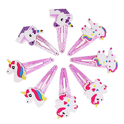 Rrunzfon 8 pz Clip per capelli per bambine e ragazze, motivo unicorno