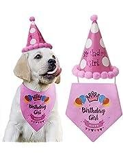 LUTER Dog Birthday Bandana Triángulo Bufandas Lindo Perrito Fiesta de cumpleaños Sombrero Feliz cumpleaños Boy Print para Perro o Cachorro decoración de cumpleaños (Pink)