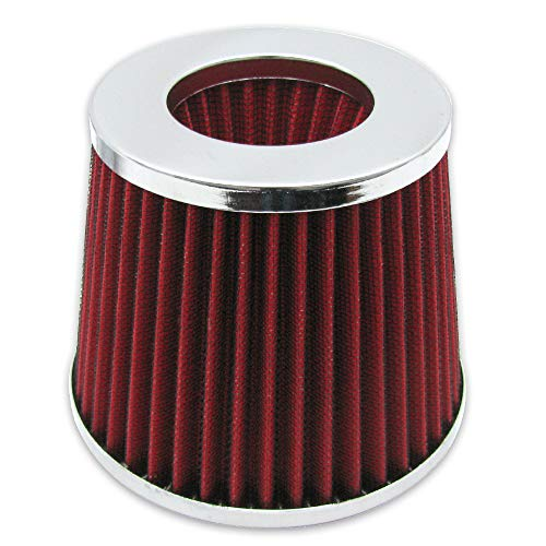 Air Intake UNIVERSAL FITMENT, Red 3 Inch Air Filter Cold Intake Chrome Inlet Short Ram Round Cone KN Type by IKON MOTORSPORTS