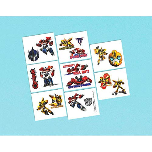 Amscan Mighty Transformers Birthday Party Temporary Tattoos Favor (16 Pack), 2' x 1', Multicolor