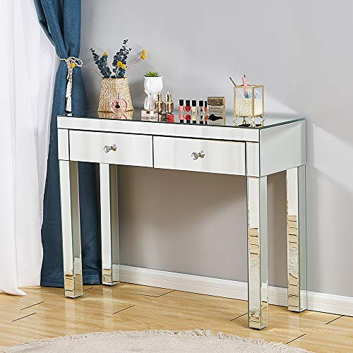 Mirrored Console Table Makeup Dressing Table,Modern Sofa Side Table Mirrored Desk Media Console Vanity Table with 2 Drawers,Entry Table for Women Girls Home Office Entryway Hallway