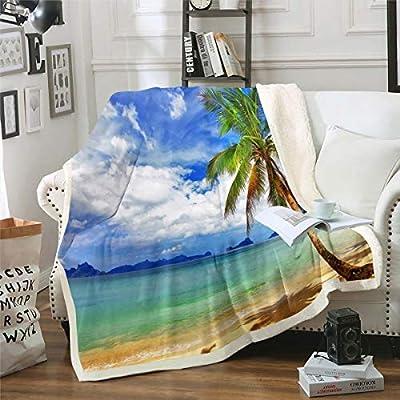 Erosebridal Palm Trees Throw Blanket Ocean Beach Bed Blanket, Hawaii Tropical Leaves Sherpa Blanket Summer Coastal Scenery Print Fuzzy Blanket, Living Room Dorm Decorative