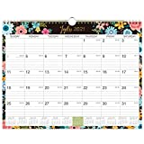 2021-2022 Calendar - 18 Monthly Wall Calendar with Thick Paper, 14.6' x 11.5', Jul 2021 - Dec 2022, Twin-Wire Binding + Hanging Hook + Ruled Blocks with Julian Dates - Black Floral