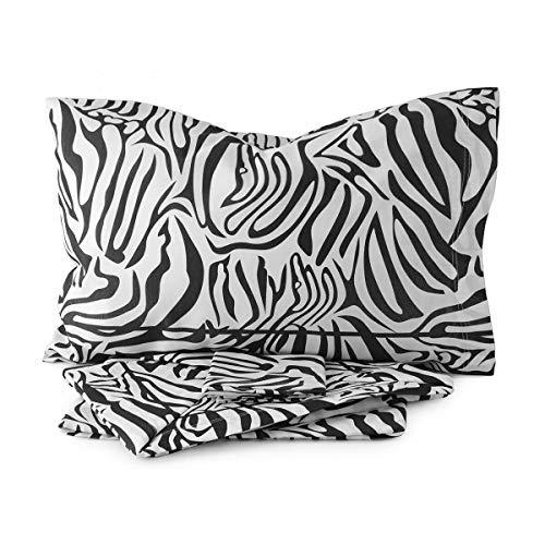 Juego de sábanas para cama de matrimonio con estampado de cebra, de polialgodón, R211