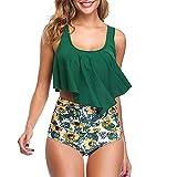 Shujin Damen High Waist Bademode Sommer Strand Retro Bikini Set mit Rüschen Vintage Ruffles Zweiteiliger Badeanzug und Hoher, Grün+sonnenblumen, XL