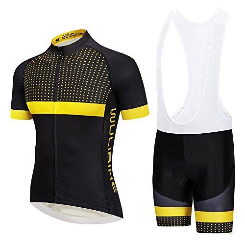 Gelbes Radtrikot Set Herren Rennrad Trikot Kurzarm und Bib Shorts Set Atmungsaktiv Schnell Trocknend