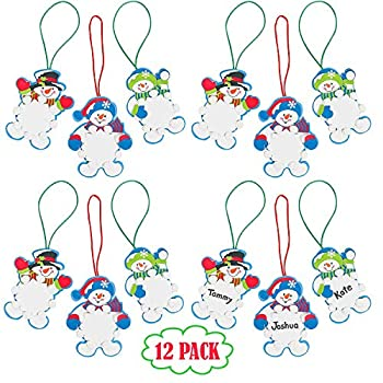 Snowman Christmas Ornament Foam Craft Kit for Kids Pack of 12 DIY Winter Snowflake Christmas Ornament Tree Decorations Fun Home Arts & Crafts Xmas Party Activities by 4E's Novelty