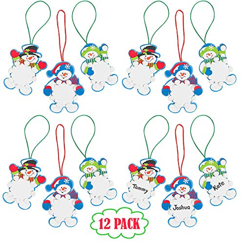 Snowman Christmas Ornament Foam Craft Kit for Kids, Pack of 12 DIY Winter Snowflake Christmas Ornament Tree Decorations, Fun Home Arts & Crafts, Xmas Party Activities by 4E's Novelty