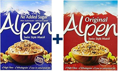 Weetabix Alpen Muesli originale 625 ge senza zucchero 560 g, confezione da 2 pezzi (1x625g + 1x560g)