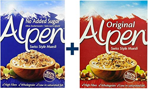 Weetabix Alpen Muesli Original 625g y sin azúcar 560g, paquete 2er (1x625g + 1x560g)